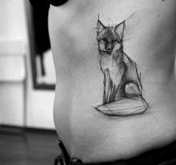 Sketch style fox tattoo by Kamil Mokot