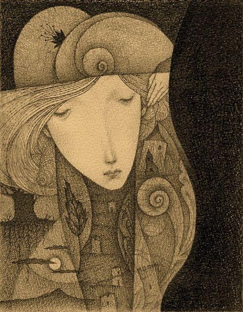 Night dream by Gustav Klim, Japanese illustrator (not THE Gustav Klimt)  via Flickr
