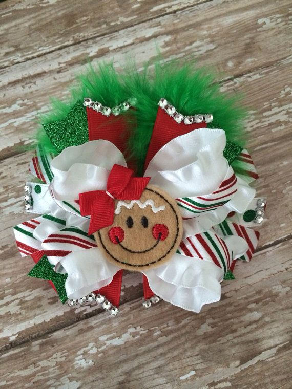 Christmas hair bow. Gingerbread hair bow. by TheJMarieBoutique, $11.99