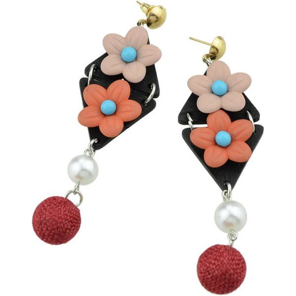Red Simulated-Pearl Colorful Flower Dangle Earrings (€3,32) ❤ liked on Polyvore featuring jewelry, earrings, red earrings, dangle earrings, colorful jewelry, multi color earrings and tri color jewelry