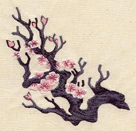 """Blossom Branch""  In China cherry blossoms are a symbol of feminine beauty and love; in Japan, they're an example of the intensity and transience of life.  -  UT1405 (Machine Embroidery)  00460396-052013-1309-8"