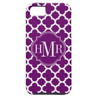 Quatrefoil Purple and White Pattern Monogram iPhone 5 Cases