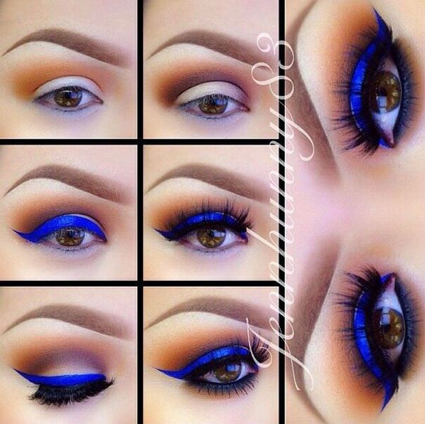 Electric Blue For Brown Eyes | 13 Of The Best Eyeshadow Tutorials For Brown Eyes by Makeup Tutorials at http://makeuptutorials.com/13-best-eyeshadow-tutorials-brown-eyes/