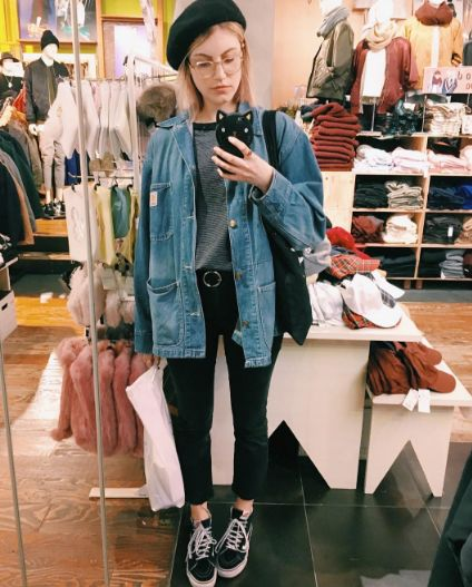 Berets Are Having A Moment #refinery29  http://www.refinery29.com/2016/11/128101/beret-outfits-comeback-fall-trend#slide-7  And your favorite wire-rim glasses....