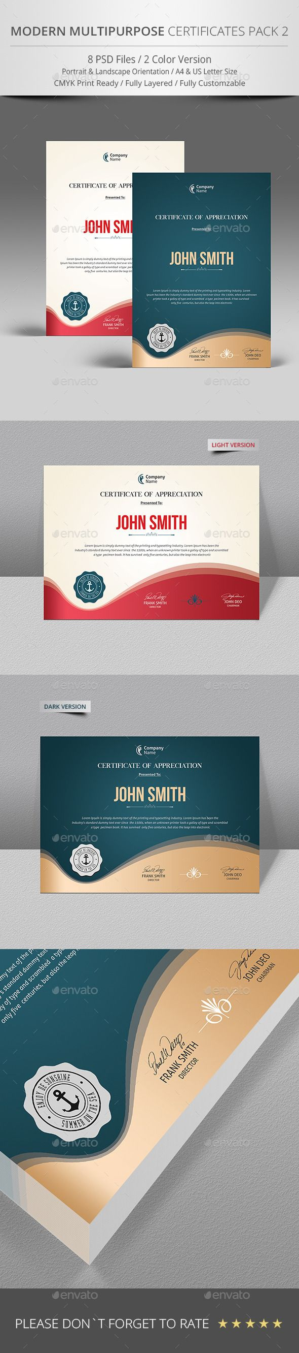 Certificate Design - Certificate Template Designed for the corporate users. Great modern certificate template for awards and certificate of appreciation. http://graphicriver.net/item/certificate/9691722?ref=themedevisers
