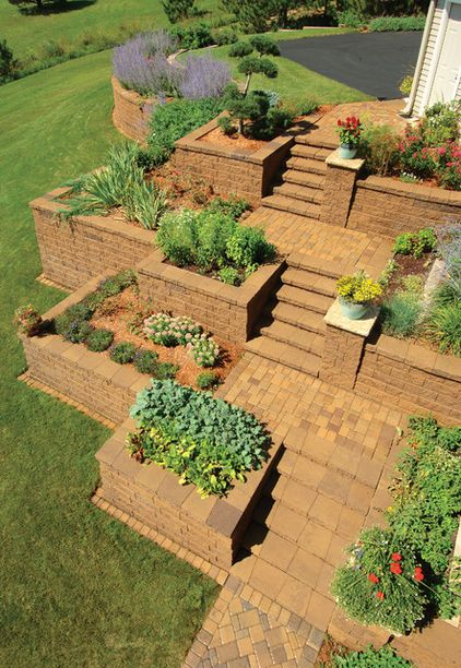 Imagine this is a vegetable garden... the height of the walls is perfect for tending/weeding/planting/harvesting while standing for those with bad knees/backs; and it is very reminiscent of the mountainside stepped agriculture of ancient Aztecs, Mayans and Incans. I love this idea...    (Pictured: Traditional landscape by Versa-Lok Retaining Wall Systems via Houzz.com)