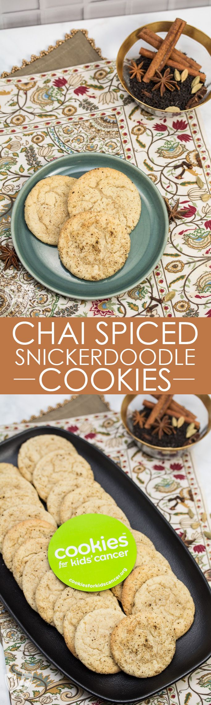 Do you like tea with your cookies? How about tea IN your cookies? Freshly toasted spices are ground and incorporated in and around these soft, fragrant cookies, giving Indian flair to a dessert classic. | Chai Spiced Snickerdoodle Cookies - a Fragrant Spin on a Classic Dessert | #baking #dessert #cookies #snickerdoodles #chai #spiced #sweettooth #helpingcookies