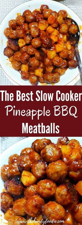 Slow Cooker PINEAPPLE BBQ MEATBALLS is one of the best slow cooker recipe I've tasted. crockpot recipe l slow cooker l BBQ recipe l meatballs l sweet and sour AND you can begin with your choice of Frozen or Thawed Purchased meatballs or Your Own Homemade ones. Talk about choices. I like this.