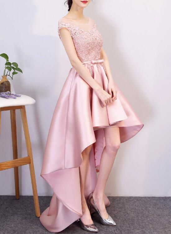 Pink Satin High Low Lace-up Formal Dress, Pink Prom Dress, Homecoming Dress 2018