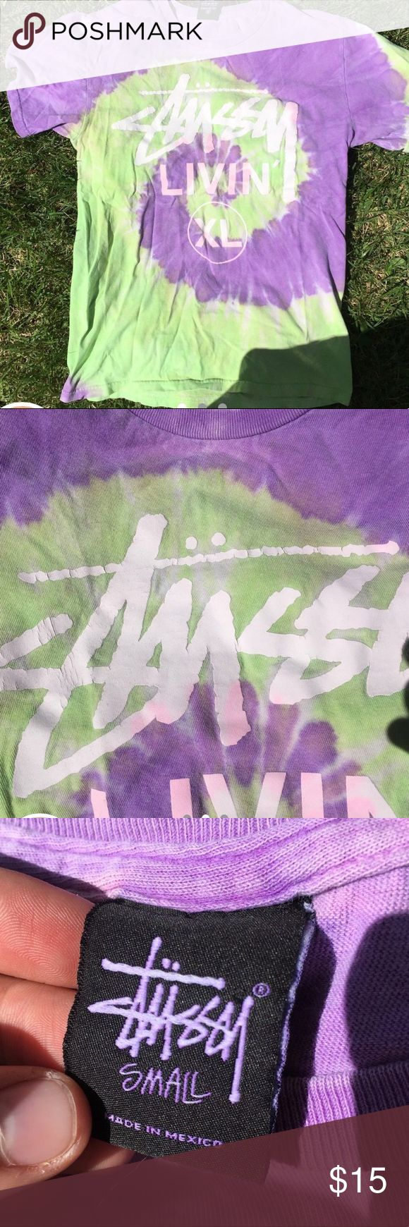 Stussy tie dye Tie dye Stussy shirt. Great condition besides cracking from regular wear Stussy Shirts Tees - Short Sleeve