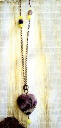 Collana pendente cuore ametista e calcite gialla