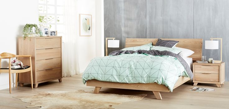 Marvin+Bedroom+Furniture+-+The+Marvin's+sleek+look+and+feel+will+add+atouch+of+Scandinavian+flair+to+your+interior.Finished+with+brushed+elm+veneer,+a+softand+natural+aesthetic+creates+the+perfectzen+retreat. Linen:+Kami+in+Mint,+by+AuraLamps:+Costas+Table+Lamp,+by+MRD+HomePrint:+Alberat+4,+by+Warranbrooke