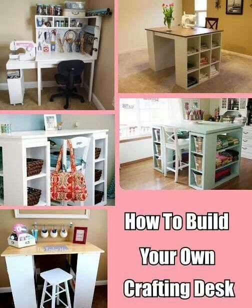 I like the cupboard storage on these DIY sewing tables. I wouldn't want so much bc space is limited, but a small cube-storage unit next to a drop-leaf sewing table with a cupboard would be great and it would look like a regular piece of furniture with the machine stowed