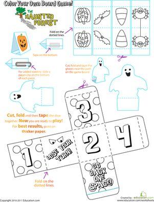 Halloween Preschool Kindergarten Printable Board Games Holiday Worksheets: Halloween Board Game
