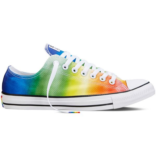 Converse Chuck Taylor All Star Pride – white Sneakers ($60) ❤ liked on Polyvore featuring shoes, sneakers, white, star sneakers, white shoes, converse footwear, rainbow shoes and rainbow sneakers