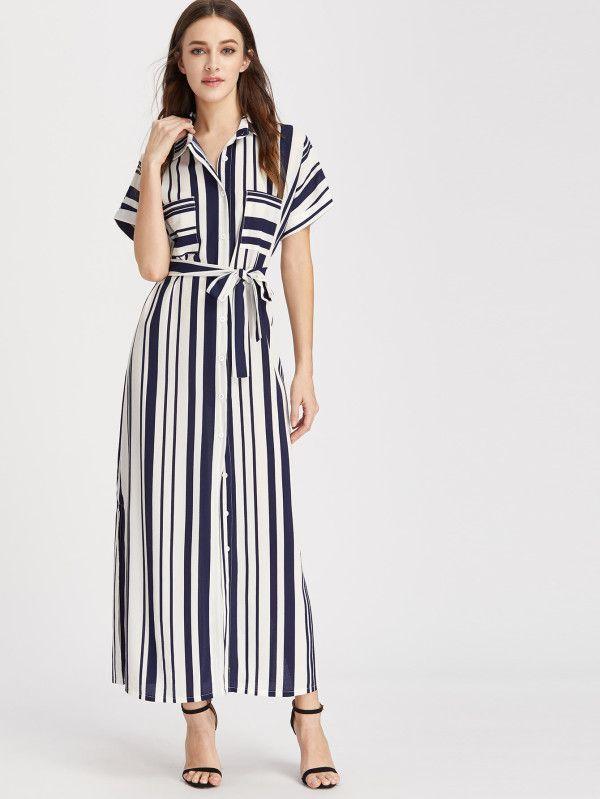 7db44eeb50 Shein Striped Self Tie Shirt Dress | Gorgeous outfits! | Maxi shirt ...