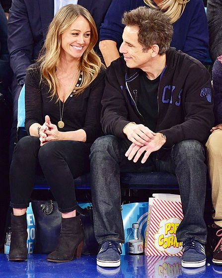 Christine Taylor only had eyes for husband Ben Stiller at the Oklahoma City Thunder vs. New York Knicks game at Madison Square Garden on Jan. 28.
