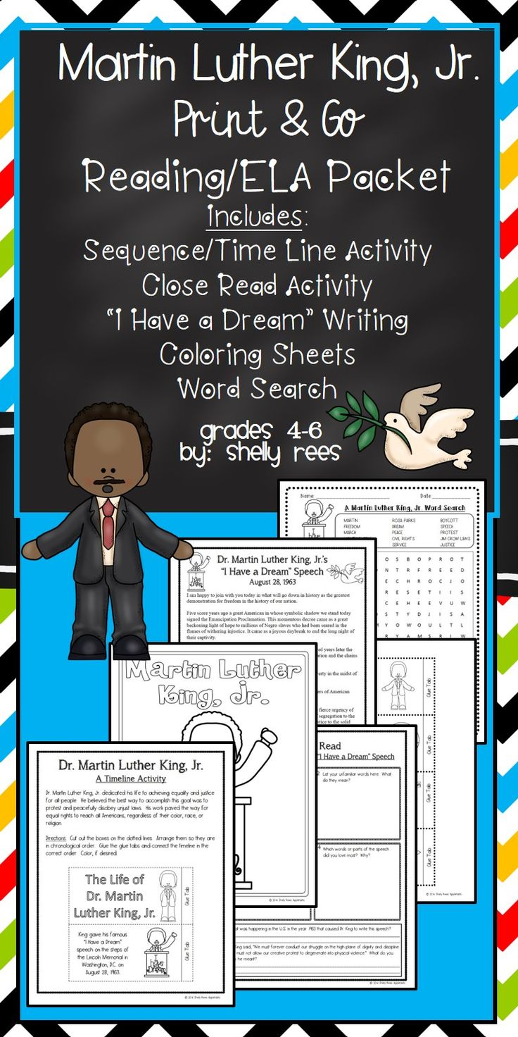 "Martin Luther King Day Activities that are fun for 3rd, 4th, 5th, and 6th grades! Includes a Timeline Activity, A Close Read of ""I Have a Dream"" speech, writing activity, coloring sheets and coloring pages, and crossword puzzle. Martin Luther King Jr. printable reading pages!"