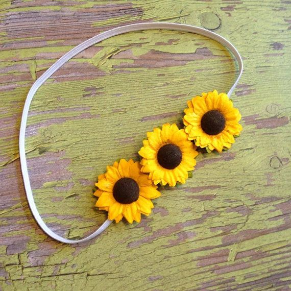 Sunflower headband flower headband summer by JoyfulJossyBowtique