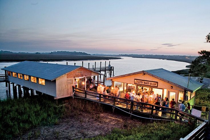 Bowen's Island Restaurant, a popular dinner-only seafood shack on Folly Creek, near the beach.
