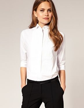 every girl needs a go-to white collared shirt/ this one is super fun with it's pintuck detail