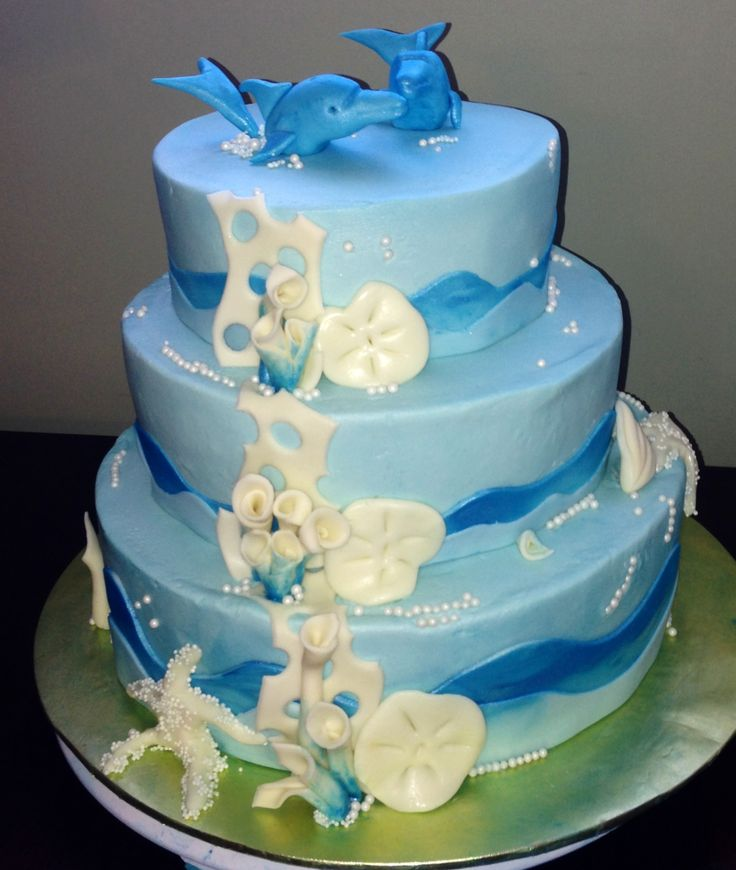 Dolphin themed wedding cake | Wicked Awesome Custom ...