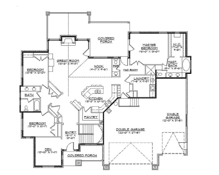 Floor Plans Aflfpw75148 1 Story New American Home With 3