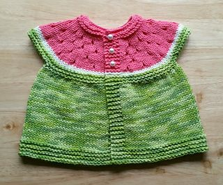 Sleeveless summer baby cardigan in watermelon colours with eyelet increases which look like watermelon seeds - what could be cuter!