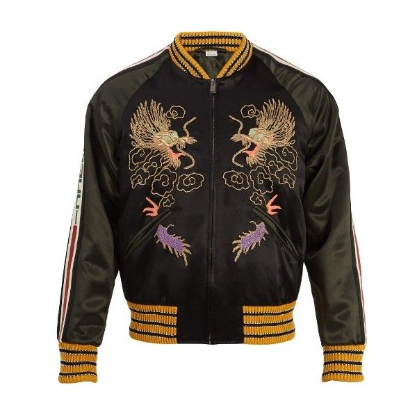 Gucci Dragon embroidered bomber jacket ($3,805) ❤ liked on Polyvore featuring men's fashion, men's clothing, men's outerwear, men's jackets, black multi, men's embroidered bomber jacket, gucci mens jacket, mens metallic gold jacket, mens long jacket and mens long bomber jacket
