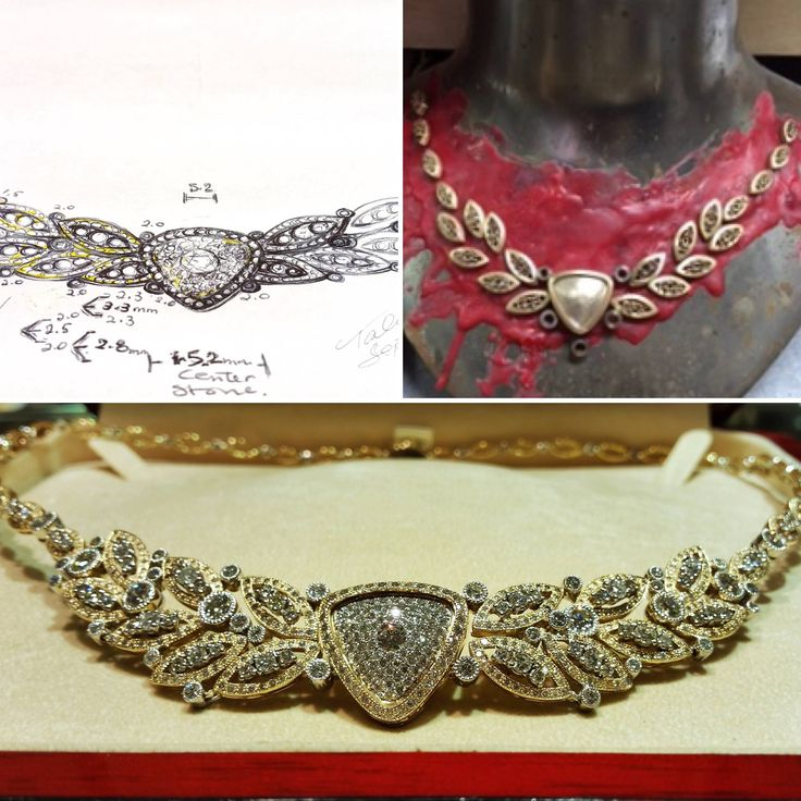 Here's a throwback to a gorgeous neck piece from 2014! Created from 809 diamonds from a clients old jewellery. The image shows our custom design process from a sketch and ideas, to casting and setting and finally the finished product!  #tbt #bobthompsonjewellers #customdesign #diamonds #neckpiece #sketch #casting #ottcity #613 #centertown