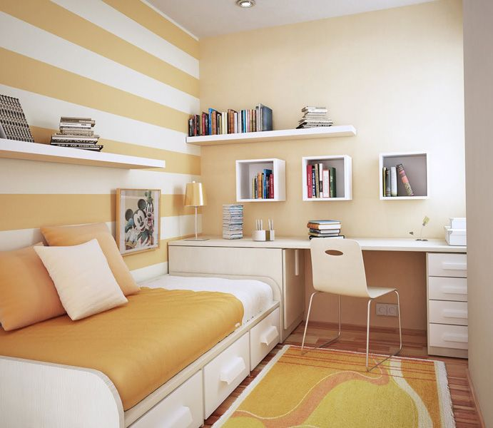 This is a really cute peachy-orange color. Again... love the bed.