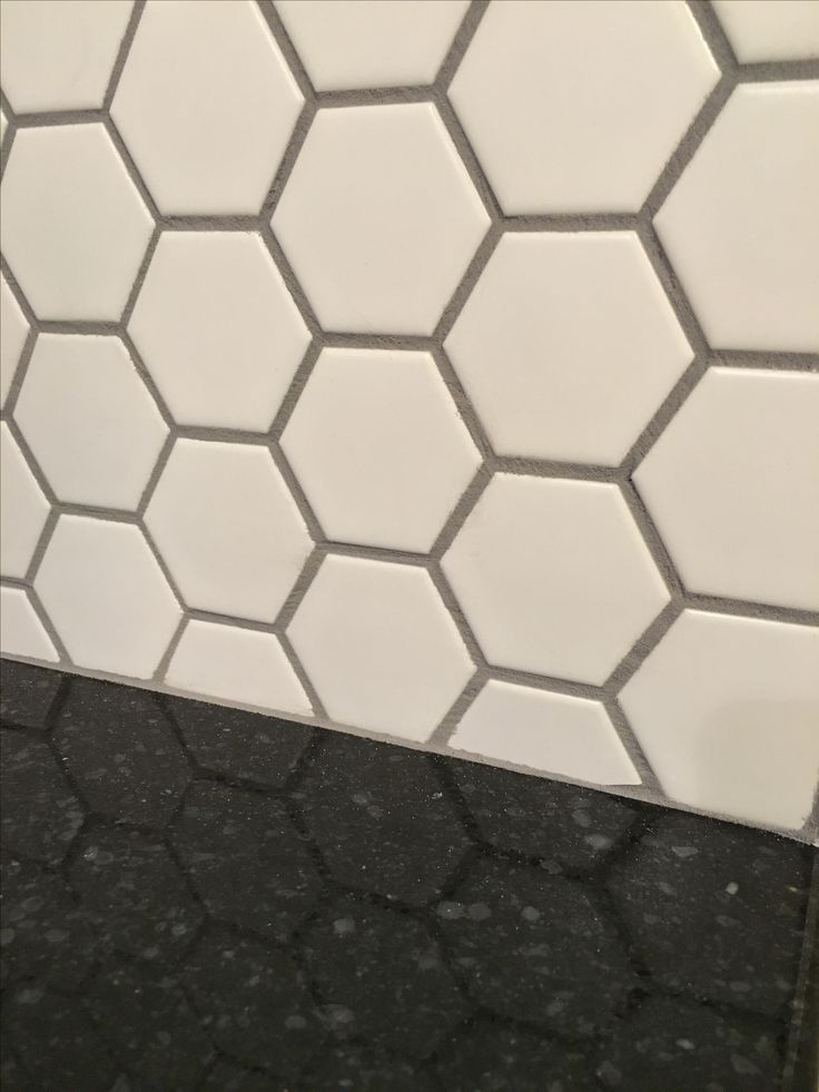Honeycomb porcelain tile Matte White with Delorean Grey