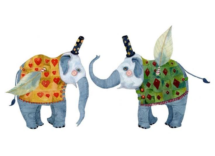Elephant Print Flying Elephants illustration 8x11. £12.00, via Etsy.