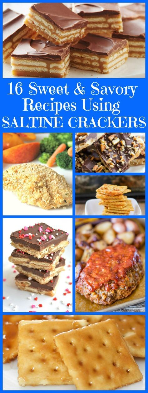 16 Sweet and Savory Recipes Using Saltine Crackers:  On the sweet side of things... saltine cracker toffee, pie, candy and cake are some of the delicious creations I'm sharing here.  And on the savory side of things, you'll find meatloaf, casserole, chicken and jazzed-up seasoned crackers.  These are all great recipes to try using those leftover saltine crackers that are sitting in your pantry!