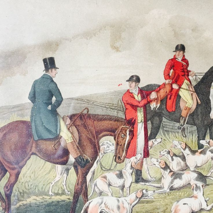 Detail from gloriously colored vintage hunt print by Henry Thomas Alken. The water stains compliment the antique vibe