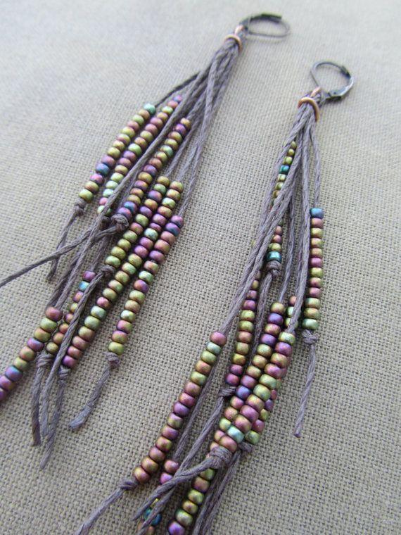 Natural Vegan Feather Hemp Earrings by PerpetualSunshine111