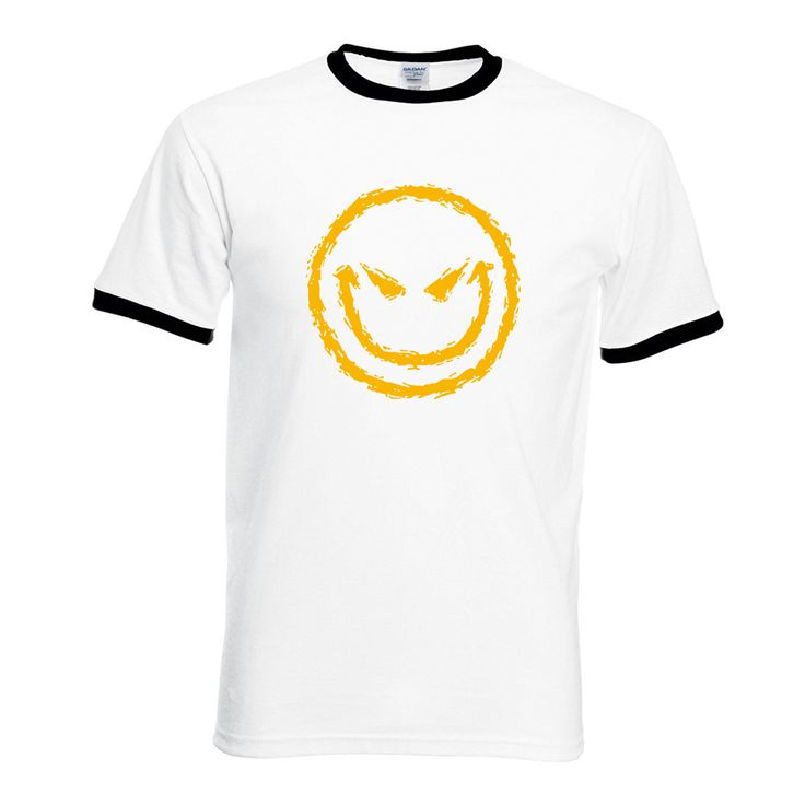 Men hipster bodybuilding camiseta funny Evil Smiley Face short sleeve T-shirt 2017 summer hip-hop contrast collar brand clothing