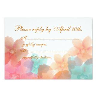 Orange, Pink, & Turquoise Floral Wedding RSVP 3.5x5 Paper Invitation Card