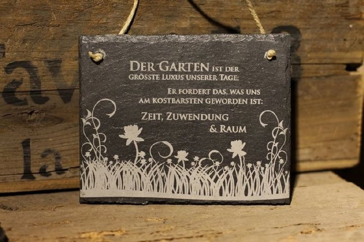Wanddeko - Schiefer Schild Garten ist der grösste Luxus Blume - ein Designerstück von condecoro bei DaWanda