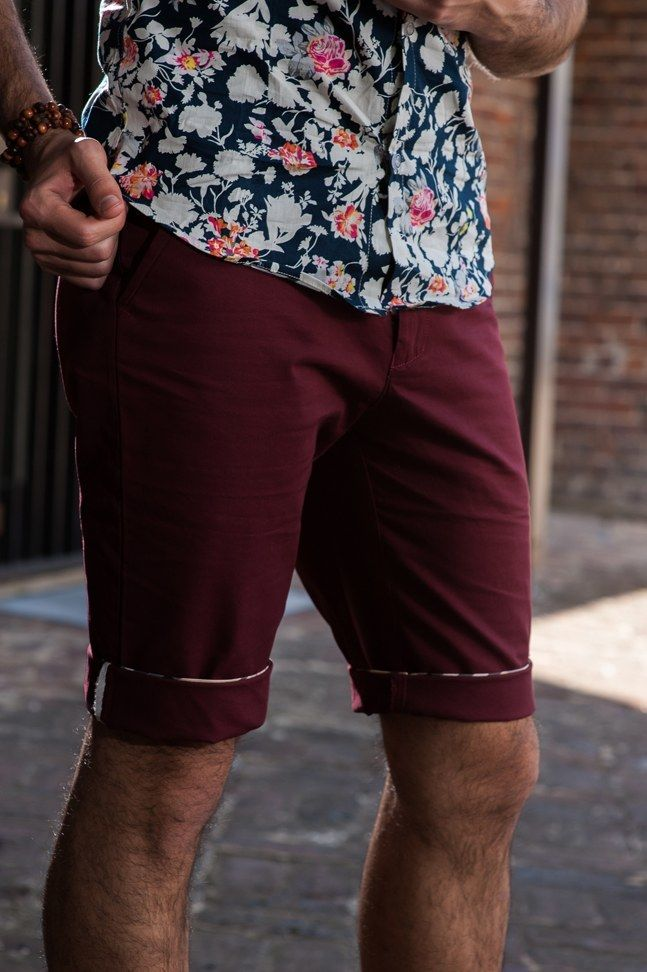 Men's Slim Fit Chino Shorts – Maroon. $49.95  http://sieteclothingco.com.au/shop/mens-shorts/