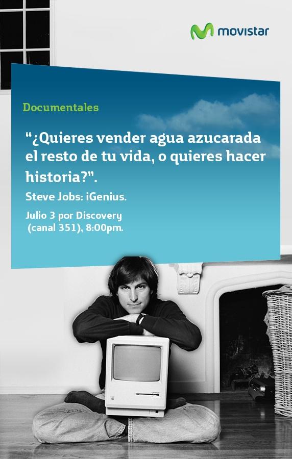 Steve Jobs: iGenius. Esta noche a las 8PM en Movistar TV. Canal 351
