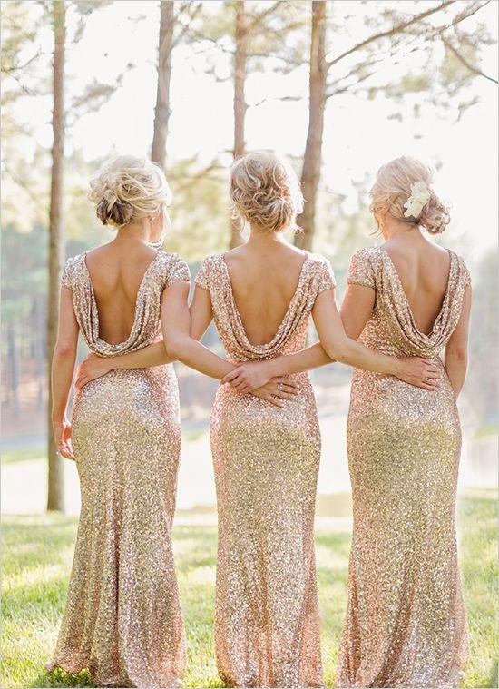 Gold sequined bridesmaid dresses