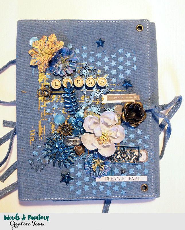Denim Art Journal cover (Finnabair) with Mechanicals and media from Finnabair.