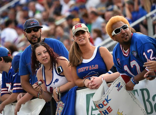 The Buffalo Bills opened their 15th training camp at St. John Fisher College on Sunday night July 20 as they prepare for the 2014-15 season. The fans wait for practice to start.
