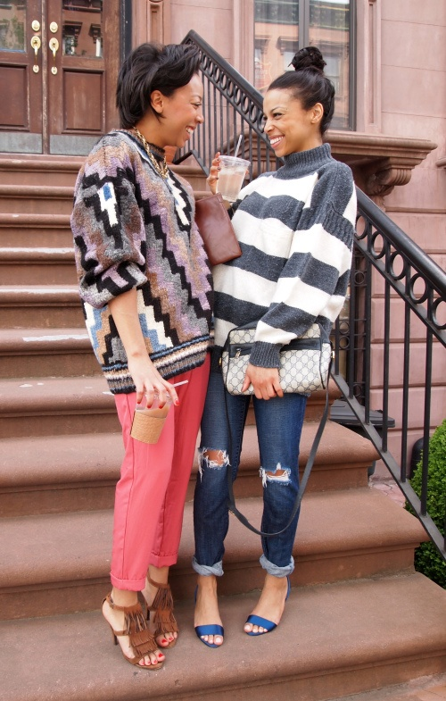via Girls Off Fifth. The sisters do Cosby sweater style: On Jessica: vtg sweater, Urban Outfitters pants, vintage clutch, Steve Madden sandals (similar); On Janelle: Vtg sweater, Gap jeans (similar), vtg Gucci bag, Zara shoes.