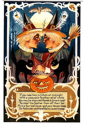 VINTAGE HALLOWEEN POSTCARD - WITCHES...