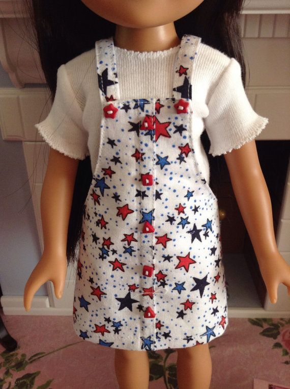 Red, white and blue star jumper by ABeeLine on Etsy. Made following the Faux Button Jumper for Les Cheries and Hearts For Hearts Dolls pattern. Get it here http://www.pixiefaire.com/products/faux-button-jumper-for-les-cheries-and-hearts-for-hearts-dolls. #pixiefaire #fauxbuttonjumperforlescheriesandheartsforheartsdolls