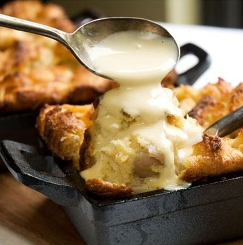 white chocolate bread pudding with caramel Bourbon sauce