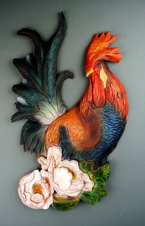 Rooster Carved of wood Wall Decoration Made by Hand por DavydovArt