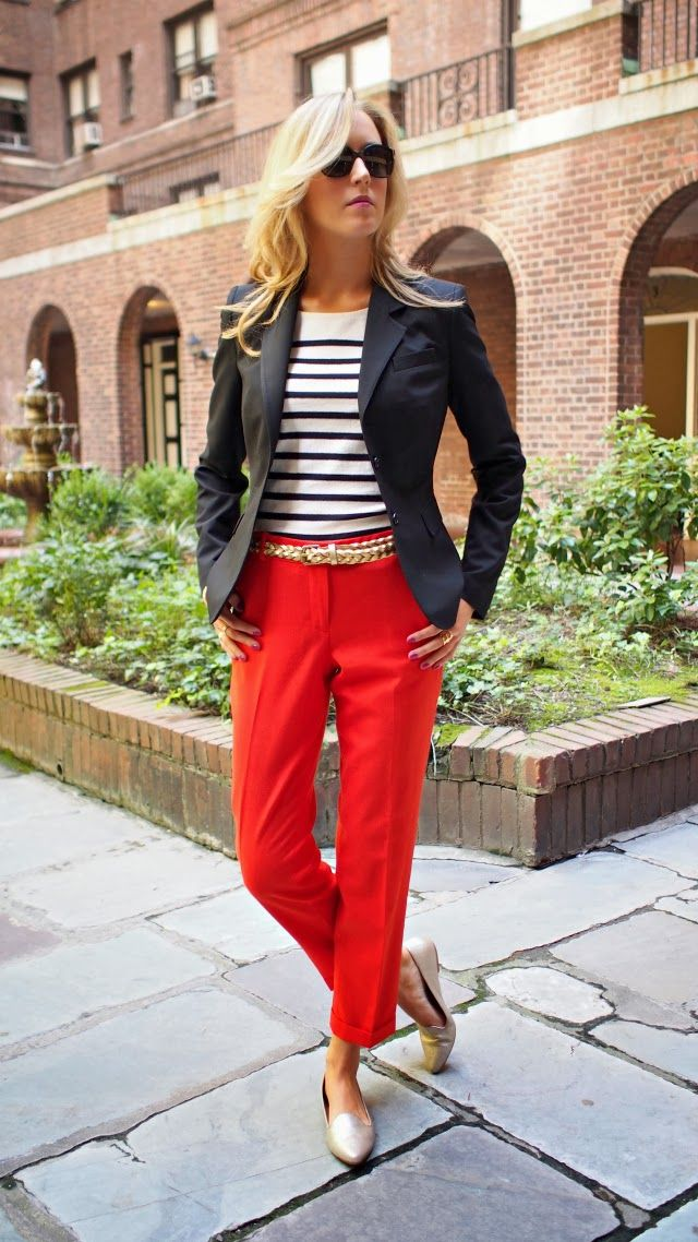 joie day loafers gold j. crew cafe capris cropped cuffed wool gold braid belt stacked rings bracelets black and white striped boatneck top b...